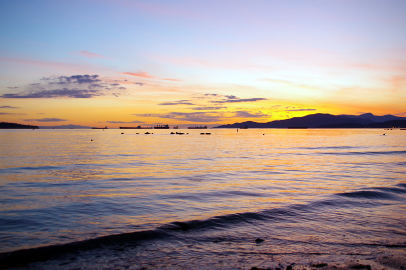 イングリッシュベイビーチの夕焼け